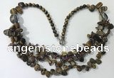 CGN702 22.5 inches chinese crystal & yellow tiger eye beaded necklaces