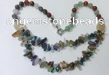 CGN703 22.5 inches chinese crystal & mixed gemstone beaded necklaces
