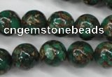 CGO106 15.5 inches 16mm round gold green color stone beads