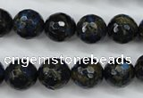CGO175 15.5 inches 14mm faceted round gold blue color stone beads