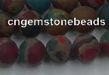 CGO268 15.5 inches 10mm round matte gold multi-color stone beads