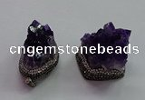 CGP1536 30*35mm - 28*40mm faceted nuggets druzy amethyst pendants