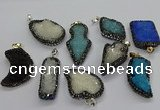 CGP3110 20*30mm - 30*45mm freeform druzy agate pendants