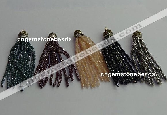 CGP450 2*3mm faceted rondelle handmade chinese crystal tassel pendants