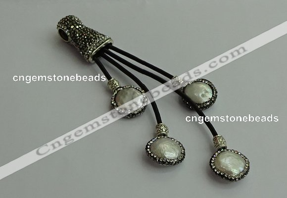 CGP529 16*18mm freeform pearl tassel pendants wholesale