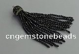 CGP682 3mm faceted round handmade hematite beaded tassel pendants