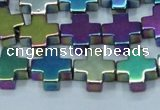 CHE1011 15.5 inches 10*10mm cross plated hematite beads wholesale