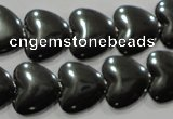 CHE260 15.5 inches 16*16mm heart hematite beads wholesale