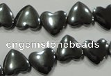 CHE263 Top-drilled 12*12mm heart hematite beads wholesale