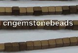 CHE609 15.5 inches 2*2mm cube matte plated hematite beads wholesale