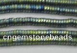 CHE678 15.5 inches 1*3mm tyre matte plated hematite beads