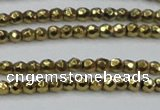 CHE692 15.5 inches 2mm faceted round plated hematite beads
