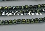 CHE693 15.5 inches 2mm faceted round plated hematite beads