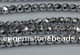 CHE710 15.5 inches 4mm faceted round plated hematite beads