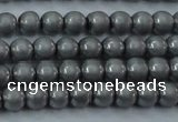 CHE720 15.5 inches 4mm round matte plated hematite beads wholesale