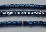 CHE781 15.5 inches 2*2mm drum plated hematite beads wholesale