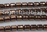 CHE788 15.5 inches 4*4.5mm drum plated hematite beads wholesale