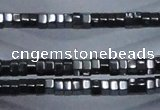 CHE822 15.5 inches 4*4mm hexagon hematite beads wholesale