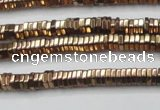 CHE826 15.5 inches 1*2mm hexagon plated hematite beads wholesale