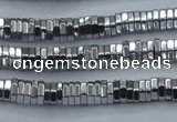 CHE841 15.5 inches 1*4mm hexagon plated hematite beads wholesale