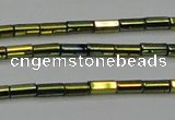 CHE909 15.5 inches 2*4mm faceted tube plated hematite beads wholesale