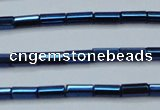 CHE911 15.5 inches 2*4mm faceted tube plated hematite beads wholesale