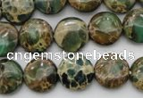 CIJ29 15.5 inches 14mm flat round impression jasper beads wholesale
