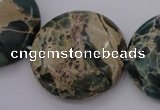 CIJ48 15.5 inches 30mm flat round impression jasper beads wholesale