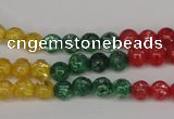 CKQ11 15.5 inches 6mm round dyed crackle quartz beads wholesale