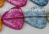 CKQ137 15.5 inches 30*30mm triangle dyed crackle quartz beads