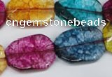CKQ142 15.5 inches 18*25mm twisted rectangle dyed crackle quartz beads