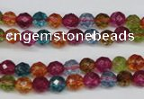 CKQ41 15.5 inches 6mm faceted round dyed crackle quartz beads