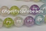 CKQ64 15.5 inches 12mm round AB-color dyed crackle quartz beads