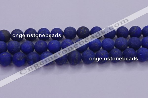 CLA76 15.5 inches 16mm round matte lapis lazuli beads wholesale