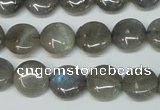 CLB169 15.5 inches 14mm flat round labradorite gemstone beads