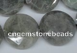CLB194 15.5 inches 25mm faceted coin labradorite gemstone beads