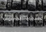 CLB320 15.5 inches 6*18mm & 12*18mm rondelle black labradorite beads