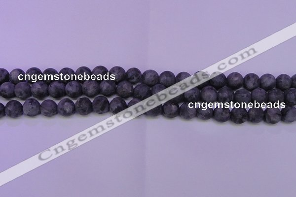 CLB373 15.5 inches 10mm round matte black labradorite beads