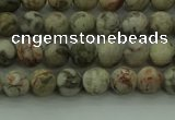 CLD201 15.5 inches 6mm round matte Chinese leopard skin jasper beads
