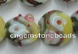 CLG814 15.5 inches 18mm flat round lampwork glass beads wholesale