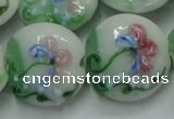 CLG823 15.5 inches 20mm flat round lampwork glass beads wholesale