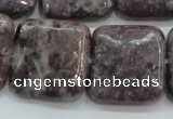 CLI09 15.5 inches 25*25mm square natural lilac jasper beads wholesale