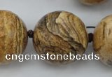 CLS10 15.5 inches 30mm faceted round large picture jasper beads