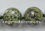 CLS106 15.5 inches 25mm faceted round peacock gemstone beads