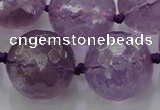 CLS110 15.5 inches 25mm faceted round large amethyst gemstone beads