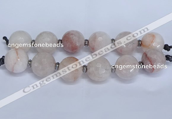 CLS350 7.5 inches 30mm faceted round large pink quartz beads