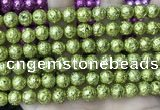 CLV535 15.5 inches 6mm round plated lava beads wholesale