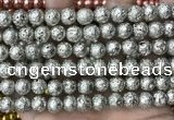 CLV550 15.5 inches 10mm round plated lava beads wholesale