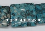 CMB55 15.5 inches 30*30mm square dyed natural medical stone beads
