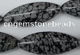 CME02 15.5 inches 15*40mm marquise snowflake obsidian beads
